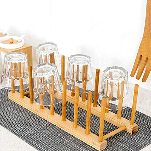Almineez Bamboo Wooden Dish Plate Racks Stand Pot Lid Holder - Kitchen Cabinet Countertop Organiser Drying Rack for Bowl Cup Glass Cutting Board Holder Dish Drainer