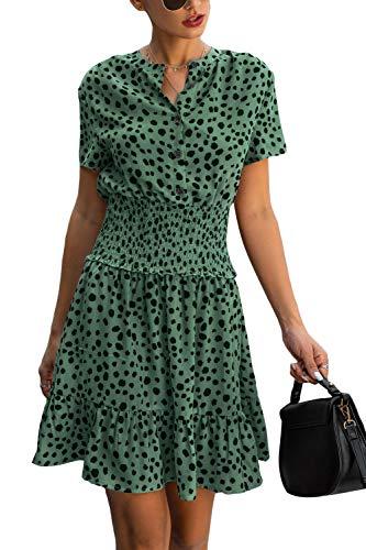 Yieune Sommerkleid Damen Elegant Casual V-Ausschnitt Strandkleid Button Down Leopardenmuster Party Kleid Etuikleid Knielang (Grün S)