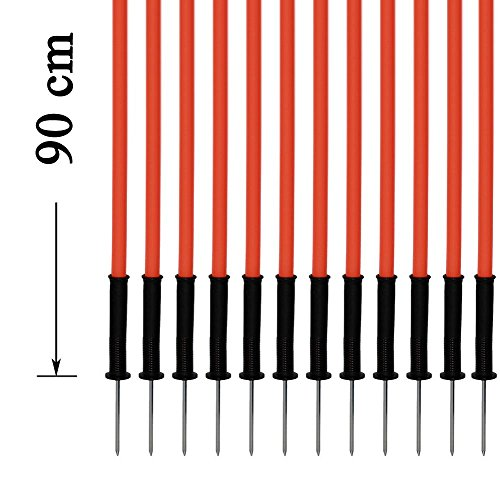 Agility Sport pour Chiens - Lot de 12 piquets de Slalom, Orange - 90 cm x Ø 25 mm avec des Ressorts Flexibles en métal - Contient également Un Sac Pratique