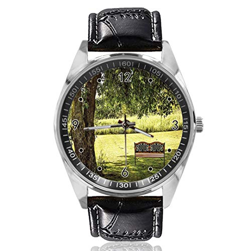 Holzbank unter großem Baum Custom Design Analog Quarzuhr Silber Zifferblatt Klassische Lederband Damen Herren Armbanduhr