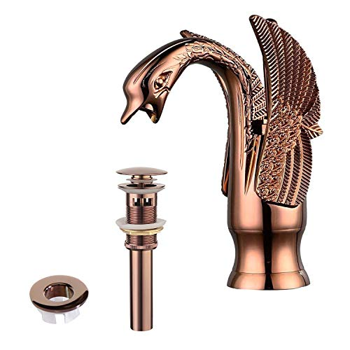 Greenspring Bathroom Faucet Swan Antique Copper Single Handle One Hole Vanity Sink Faucets Bath Lavatory Deck Mount Commercial Matching Pop Up Drain and Overflow Cover