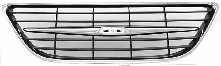 Grille for Saab Saab 9-3 03-07 Center Chrome Shell/Painted-Black Insert Convertible/Sedan