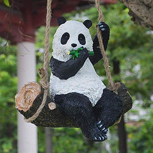 Garden Ornaments Outdoor Statues Statue Indoor Resin Swing Panda Figurines Decor Sculpture for Gallery Patio Balcony House 29 * 19 * 30cm for Patio,Lawn,Yard Decor,Housewarming Garden Gift