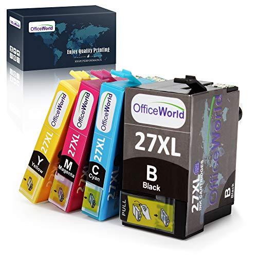 OfficeWorld Sostituzione per Epson 27 27XL Cartucce d'inchiostro Alta Capacità Compatibile per Epson WorkForce WF-7610DWF WF-7620DTWF WF-3640DTWF WF-3620DWF WF-7110DTW