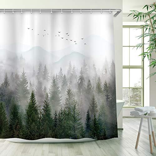 RosieLily Misty Forest Shower Curtain Foggy Pine Tree Mountain Woodland Bath Curtain Beautiful Scenery Landscape Bathtub Decor 72 Inch Shower Curtain with 12 Hooks