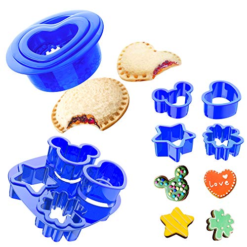 Yumkt 7 PCs Uncrustables Sandwich Sealer Cookies Cutters Round Heart Mickey Mouse Flower Cookies Biscuit Cutters for Kids,Blue