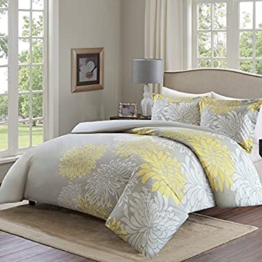 Comfort Spaces Duvet Cover Full/Queen Size - Enya Yellow and GrayFloral Bedding Sets 3 Pieces Includes [ 1 Cover For Duvet, 2 Shams ] Queen Duvet Sets