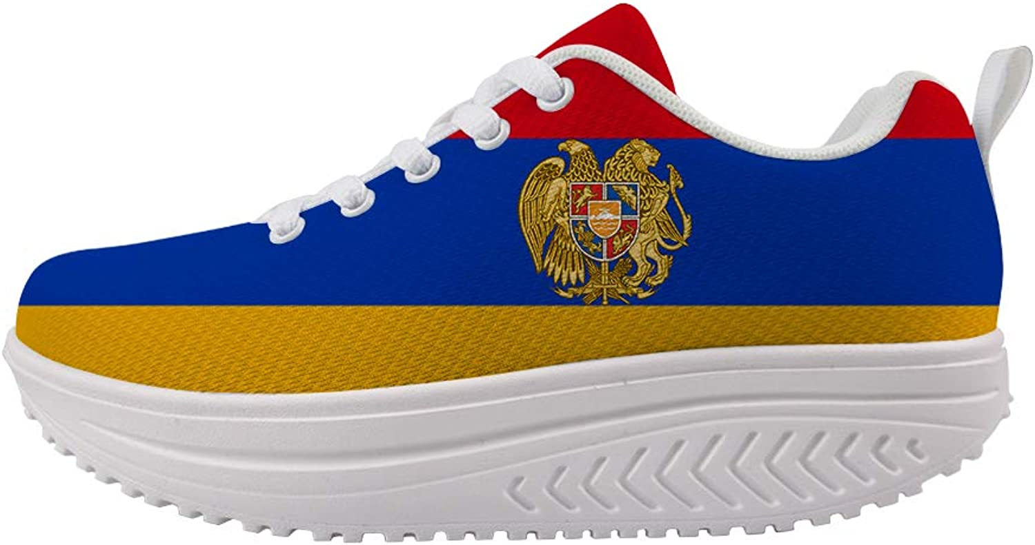 Owaheson Swing Platform Toning Fitness Casual Walking shoes Wedge Sneaker Women Armenia Flag National Emblem