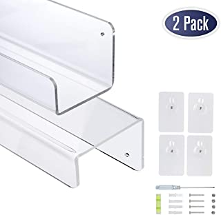 Dasher Products Clear Acrylic Floating Wall Shelves - 17 Inch Wall Bookshelf for Kids, Acrylic Shelves for Kitchen, Bathroom, Shower, Nursery. Screwdriver, Level, Screws, Anchors Included