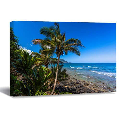 Tropical Coastline Canvas Picture Painting Artwork Wall Art Poto Framed Canvas Prints for Bedroom Living Room Home Decoration, Ready to Hanging 8'x12'