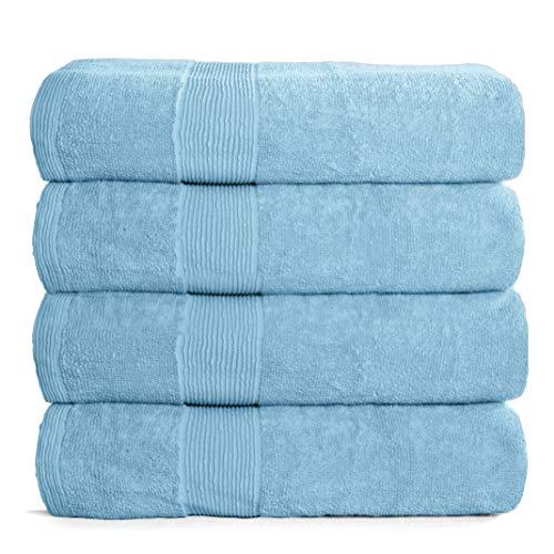 Elvana Home Juego de 4 toallas de baño de 27 x 54, 100% algodón hilado en anillas, ultra suave, altamente absorbente, lavable a máquina, toallas de baño de calidad para hotel, spa, para cuarto de baño, 4 toallas de baño, color azul claro