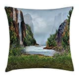 ZHIZIQIU Waterfall Decor Throw Pillow Cushion Cover, Lave wiev with Mountains And Hills by The Champaign with Colorful Plant, Decorative Square Accent Pillow Case, 18 X 18 Inches, Blue And Green
