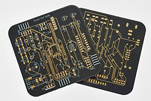 Untersetzer in Platinen Design 2er Set Schwarz goldene Kontakte für Gläser und Tassen Bürozubehör Computer Geeky Geschenk Kaffe Tee Tisch PCB Nerd Technik Home Bar...