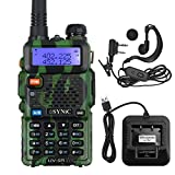 ESYNiC Walkie Talkie UV-5R Dual Band 65 MHz~108MHz VHF/UHF Walky Talky LED FM 128 Canali Memoria Due Vie Radio Ricetrasmettitore FM Radio Supporta VOX con USB Cavo Alimentazione - Verde Camouflage