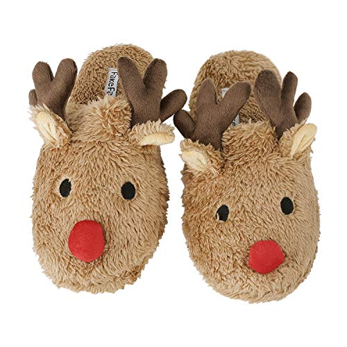 Moonlove Lovely Cartoon Reindeer Shape Plush Velvet Slipper Super Warm Soft Mules Non-Slip Bedroom Indoor House Winter Cute Slipper for Women Ladies, Light Coffee, UK 4.5