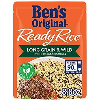 BEN S ORIGINAL Ready Rice Pouch Long Grain & Wild Rice 8.8 oz  6 Pack