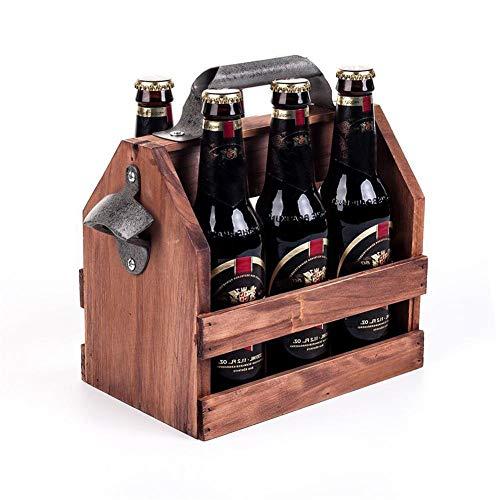 Carrito de Cerveza de Madera Vintage Premium, Paquete de 6 Botellas con abrebotellas e Insertos extraíbles, Canasta de Cerveza Canasta de Vino de Madera Maciza para Bares, KTV, hoteles, hogares, etc.