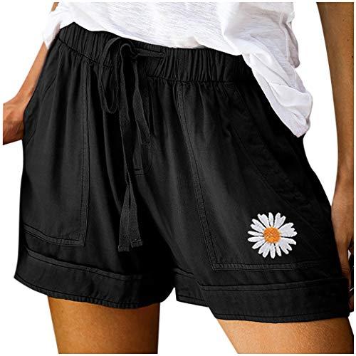 Nyuiuo Verano de Las Mujeres de Gran tamaño de Color sólido pequeño Estampado de Margaritas Color de Contraste de Encaje elástico Bolsillo Casual Pantalones Cortos Sueltos Pantalones Deportivos