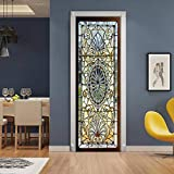 ChezMax 3D Door Stickers Mural Wallpaper PVC Art Sticker Removable Self Adhesive Wall Gallery Decal for Home Office Decoration Retro Stained Glass Door Pattern 30.3'W 78.7'H