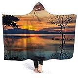 YOWAKi Ultra-Soft Micro Fleece Soft and Warm Throw Hooded Blanket,Nature,Morning Sunrise by The Lake Horizon Sky Dawn Idyllic Tranquil River Scenery,60' 50',Orange Blue Grey