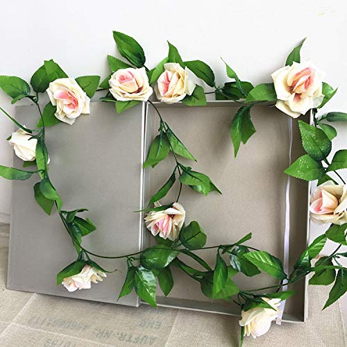 Mistari 250CM/lot Silk Roses Ivy Vine with Green Leaves for Home Wedding Decoration Fake Leaf DIY Hanging Garland Artificial Flowers- Fake Succulents- Artificial Plants-Champagne