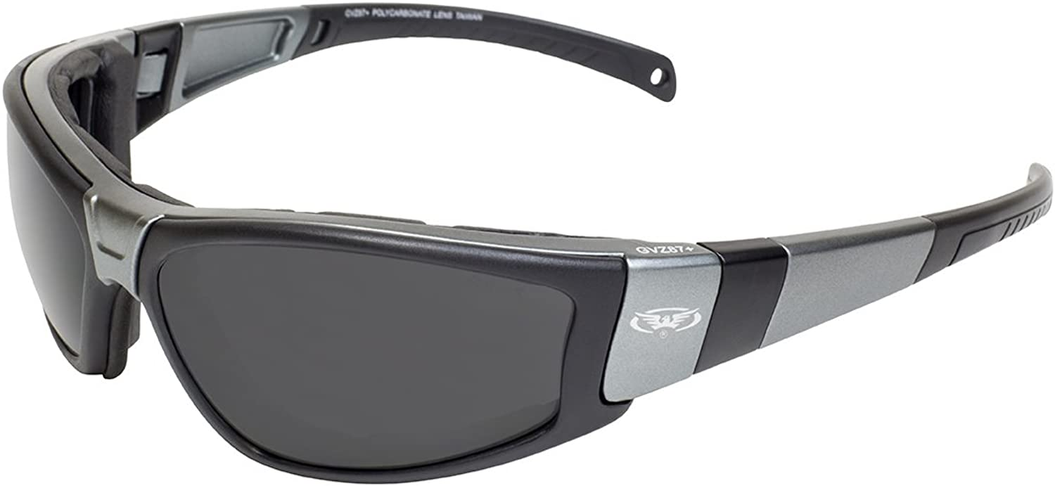 Global Vision Eyewear Champ Char MET SM Motorcycle Safety Sunglass, Smoke Lens, Metallic Charcoal Black Frame