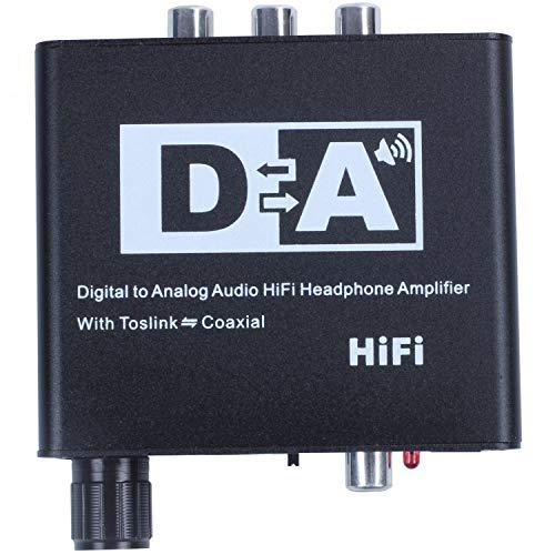 Gaoominy Conversor DAC Digital a analogico con Control de Volumen Toslink Optico bidireccional a Estereo coaxial Digital L/R RCA 3.5 mm Jack Adaptador de Cable de Audio con para PS4