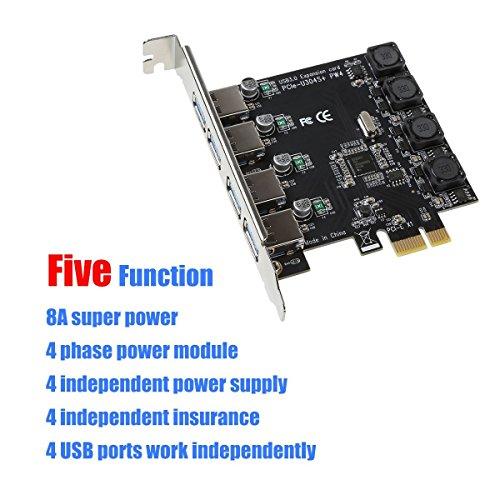 IDEAPRO Scheda di espansione PCIe a 4 Porte PCI-E a USB 3.0 PCI Express ad Alta velocità Fino a 5 Gbps, nessun connettore di Alimentazione supplementare per Desktop Windows XP/Vista/7/8/10 (4 Porte)