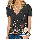 HUPAI Femmes T-Shirt à Manches Courtes Col en V Couverture T-Shirt à Manches Courtes Top Blouse Casual Tunique Ample (M, Noir)