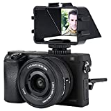 JJC - Espejo con tapa para cámara Sony A6500 A6300 A6000 A7 II Serie III Fujifilm X-T2 X-T3 X-T20 X-T30 Nikon Z6 Z7 con soporte de zapata fría para luz de micrófono, pantalla de selfie, YouTube Vlog