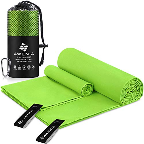 Awenia Camp Towel Quick Dry Microfiber Towel 2 Pack (30 x 60'' + 12 x 24''), Compact Travel Towel for Gym, Sports, Hiking, Backpacking, Swimming, with Carry Bag - Green