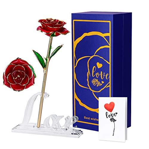 Efanty 24k Rosa Placcato Oro, Rosa Eterna Stabilizzata Fiore Artificiale con Supporto, Idea Regalo per San Valentino, Anniversario, Festa Mamma, Decorazioni per la Casa (Rosso)