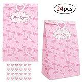 Vordas Welecoco Mitgebseltüten Papier, 24 Stück Geschenktaschen, Papier Candy Tüten, Geschenktüten Kindergeburtstag, Partytüten Set mit 24 Aufkleber, Thank You Flamingo-Papiertüte(21 x 12 x 8 cm)