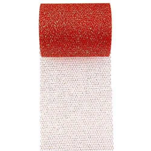 SANTEX 70228-7 - Ruban tulle pailleté couleur rouge