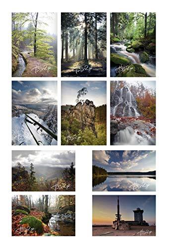 10er Set Harz2go Postkarte Motivkarte Grusskarte Bilder Harz Landschaft Natur Wasser Wald