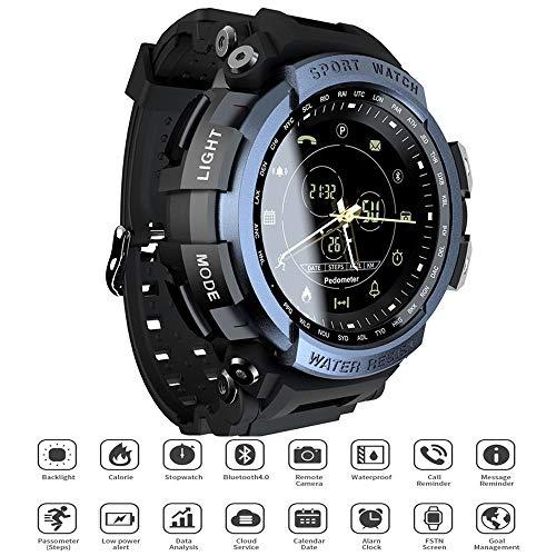 JJIIEE Reloj Impermeable para Hombre Outdoor Life, Pantalla de 1.14 Pulgadas BT4.0 Podómetro Calorías Alarma Smartwatch para Android 6.0 / iOS 7.0 y Superior (No es Necesario Cargar),Azul