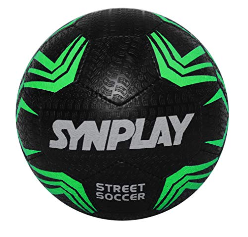 Synplay Street Football (Soccer), Hand stitched, Size 5 (Black)