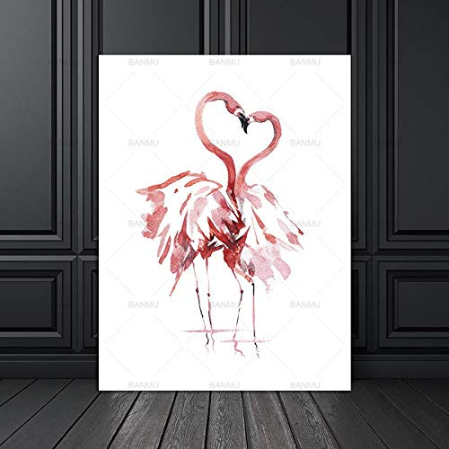 Watercolor Flamingo Art Print Canvas Poster or Home Decor Print Wall Decoration 20X30cm