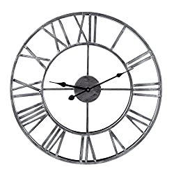 PeleusTech Wall Clock, 20-inch Dia Large Iron Metal Vintage Retro Indoor Wall Clock with Roman Numerals - (Silver)