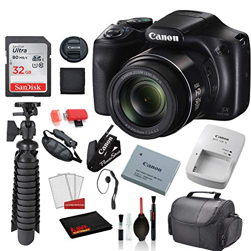 Canon PowerShot SX540 HS Digital Camera (1067C001) with Accessory Bundle Package SanDisk 32gb SD Card + Deluxe Cleaning Kit + 12' Tripod + More