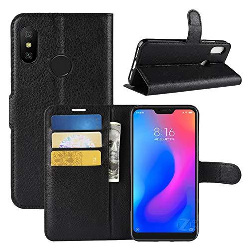 HualuBro Funda para Xiaomi Mi A2 Lite, Funda Libro de Cuero PU Premium con Tapa y Cartera Flip Cover Magnético Carcasa para Xiaomi Mi A2 Lite Case (Negro)