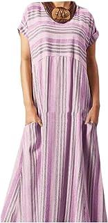 FSSE Women Stripe Short Sleeve Dress Casual Everyday Long Dress