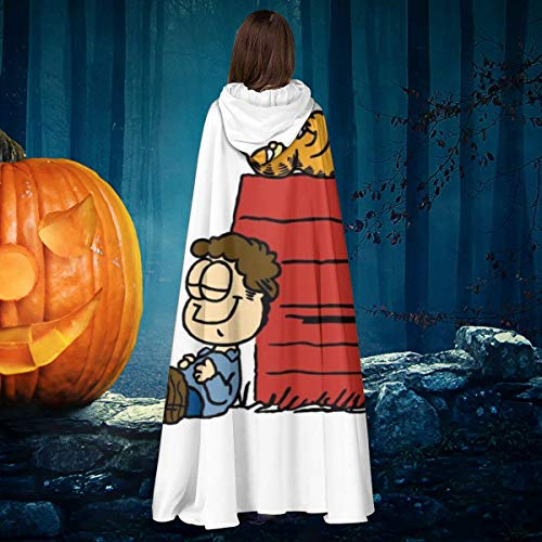 AISFGBJ Jon Brown Garfield Snoopy Peanuts Unisex Navidad Halloween Bruja Caballo con capucha Vampiros Capa Cosplay Disfraz