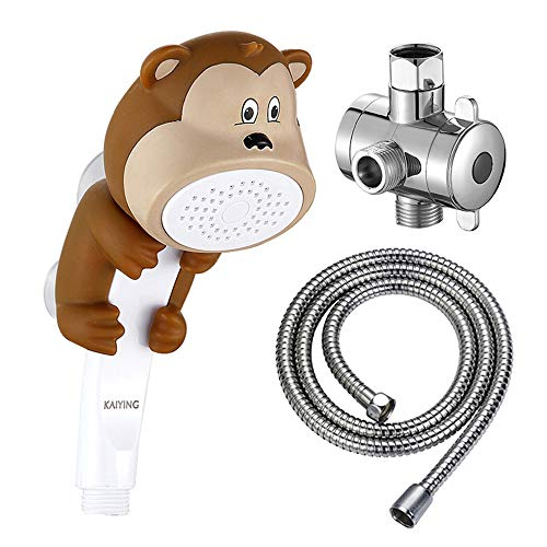 KAIYING Children's Handheld Shower Head,Cartoon Water Flow Spray Shower Head Baby Kids Toddler Bath Play Bathing Toys (L:Showerhead(Monkey)+Hose+Diverter)