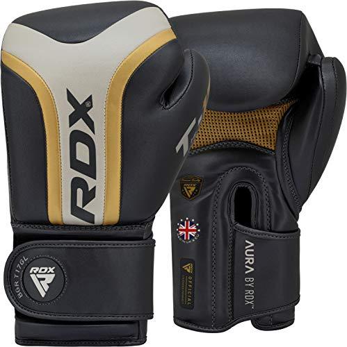 RDX Guantes de boxeo para entrenamiento Muay Thai, Maya Hide Guantes de cuero para Sparring, Kickboxing, lucha, Punch Bags y Focus Pads Punching