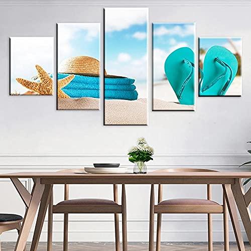 QWASD Chanclas De Playa Starfish Cuadro En Lienzo Equipo De 5 Piezas Material Tejido No Tejido Impresión Artística Imagen Decor Pared