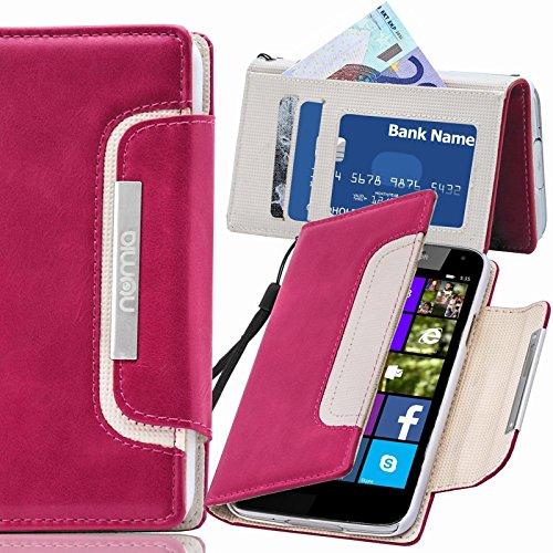 numia Nokia Lumia 1520 Hülle, Handyhülle Handy Schutzhülle [Book-Style Handytasche mit Standfunktion & Kartenfach] Pu Leder Tasche für Nokia Lumia 1520 Hülle Cover [Pink-Weiss]