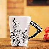 400Ml Tazza Di Musica Creativo Violino Stile Chitarra Tazza Di Ceramica Tazza Di Caffè Tazza Di Tè Per Uso Domestico Tazza Di Caffè Al Latte Con Manico Romanzo Regalo Nota Tazza Tazza D'Acqua-F