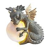 Hopowa Estatua de dragón de Resina Figuras de jardín Escultura meditada Figura Hecha a Mano, Decoración de jardín de dragón de Yoga Zen Adornos de Patio al Aire Libre