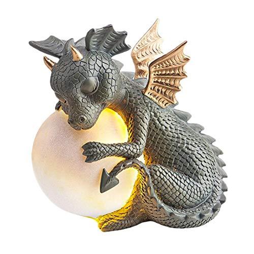 Lewpox Estatua de Deco de Garden Deco, Estatua de Dragón de Resina, Dragón de Yoga, Dragón de la Suerte, Dragon Garden Figure, Adornos para jardín, Terraza, Vorgelar, Césped